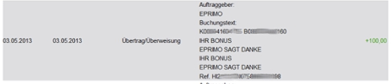 eprimo Auszahlung Wechselbonus